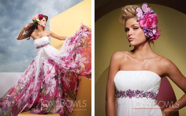 Rochie de seara alb cu roz Tony Bowls Elite Mariaj Bucuresti