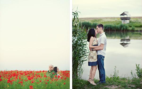 Cuplu pe malul lacului si in camp de maci Theo Manusaride Bucuresti