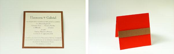 Invitatii nunta handmade patrate cu buzunar text si banda hartie