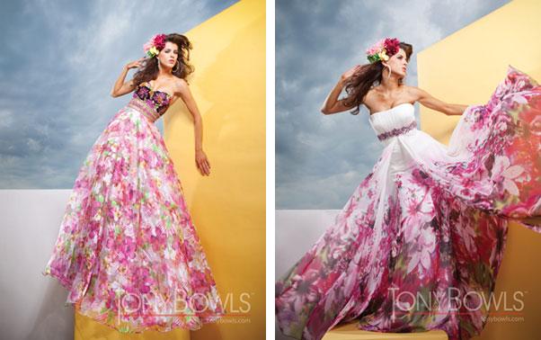 Rochie ampla de seara cu model floral Tony Bowls