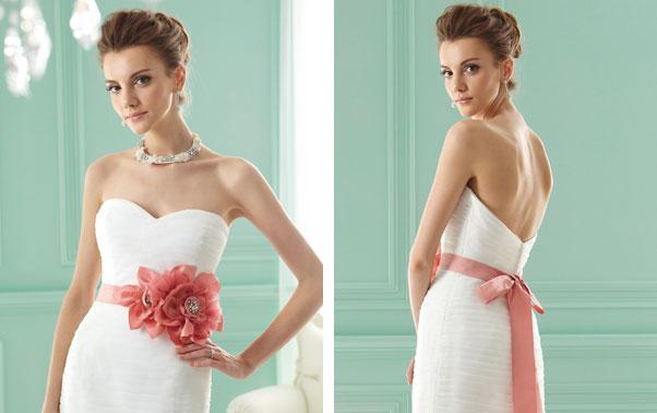 Rochie de mireasa cu floare roz in talie Jasmine Bridal