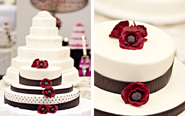 Tort alb cu maci rosii din zahar