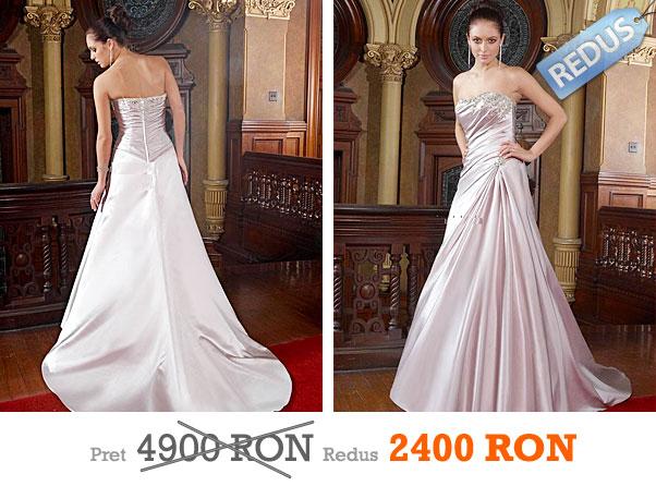 Rochie de mireasa din saten royal au aplicatii din cristale la pret redus - Impression Bridal