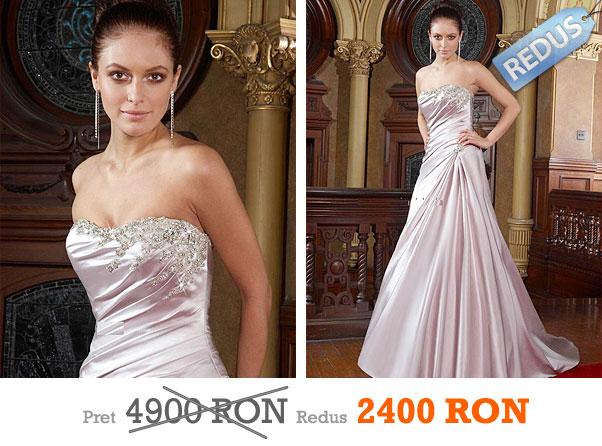 Rochie de mireasa din saten royal ivory cu cristale Swarovski la pret redus - Impression Bridal