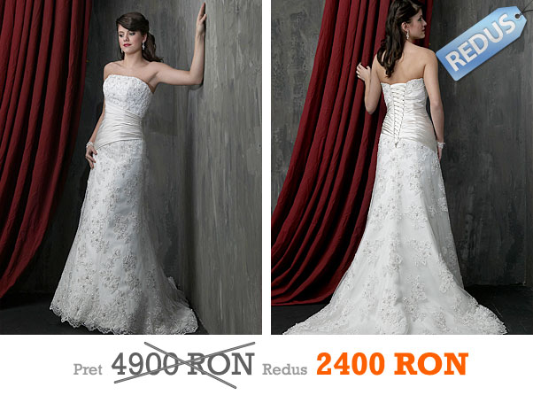 Rochie de mireasa ivory si alba reducere stil A - Impression Bridal