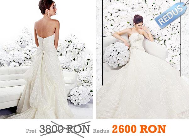 Rochie de mireasa ivory din dantela si brosa din cristale la pret redus - Impression Bridal