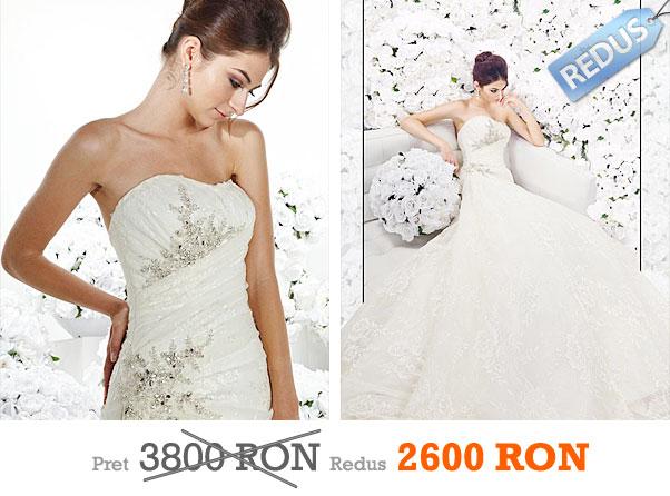 Rochie de mireasa din dantela si brosa din cristale la pret redus - Impression Bridal